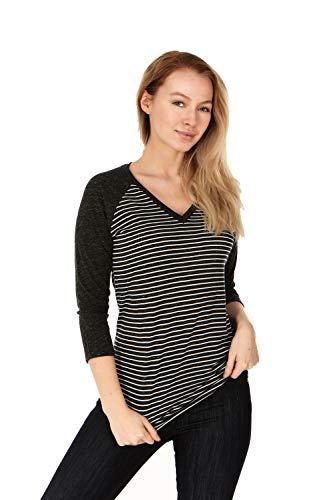 X America Junior and Plus Size Raglan Baseball Tee, 3/4 Sleeve Shirts for Women, Made in USA (3X Plus Size, Black Stripe)