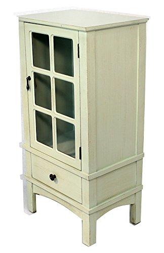 Heather Ann Wooden Cabinet with Glass Insert; Light Green
