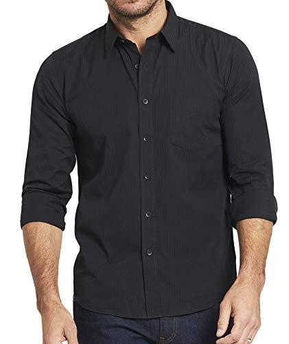 - UNTUCKit Leiwen - Men's Button Down Shirt, Black Satin Stripe, 100% Cotton