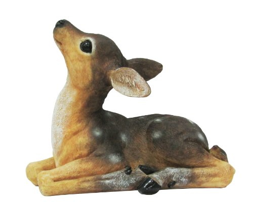 HomeView Design Baby Fawn Lying Outdoor Statue, Natural Realistic Colors