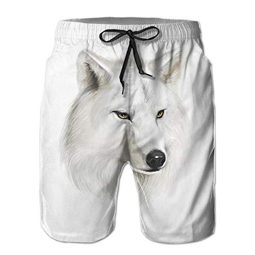 Bilybily White Canine Head Men Shorts Summer Loose Men Print Drawstring Casual Beach Work Short Trouser Shorts Pants with Pocket