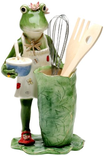 Appletree 11-1/2-Inch Frogalina Ceramic Utensil Holder - Apple Utensil Holder