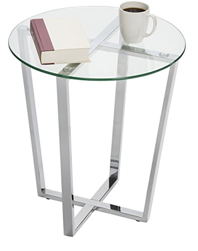 Mango Steam Metro Glass End Table - Clear Top/Chrome Base (Glass Tables Side)
