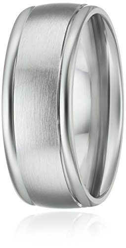 Mens-Platinum-Comfort-Fit-Plain-Wedding-Band-with-High-Polished-Round-Edges-and-Satin-Center-Wedding-Band-8mm