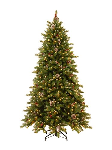 National Tree 6.5 Foot Frosted Berry Memory-Shape Tree with Cones, Red Berries, 600 Dual LED Lights with PowerConnect System and 9 Function Footswitch, Hinged (FRB3-302PD-65M) ()
