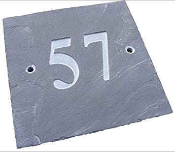"""cfe78695ae4e NATURAL GREY SLATE HOUSE DOOR NUMBER 6"""" x 6"""" DEEPLY ENGRAVED  NATURAL SURFACE SIGN"""