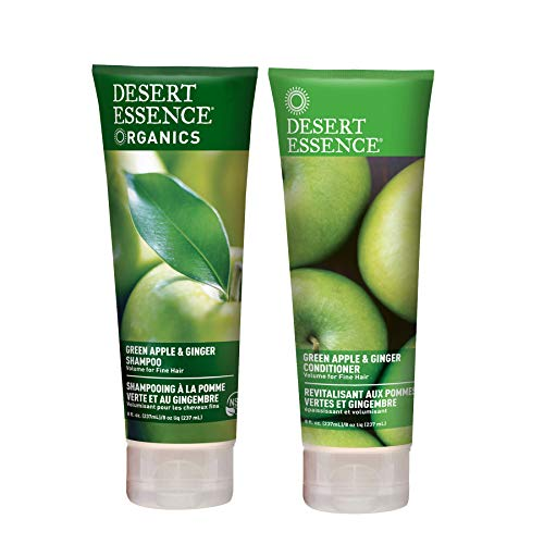 Desert Essence Organics Green Apple & Ginger Shampoo & Desert Essence Green Apple & Ginger Conditioner Bundle