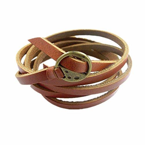 Womens Leather Wrap Bracelet (Jenia Adjustable Genuine Leather Skinny Wrap Cuff Bracelet or Belt Unisex 7