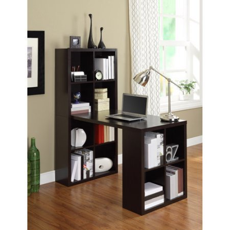 Altra Sturdy Craft Desk,Large Work Surface,12 Storage Cubbies, Espresso