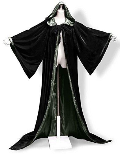 [ANGELWARDROBE Halloween Velvet Hood Cloak Wizard Robe Gothic Black-Green L] (Costumes Starting With L)