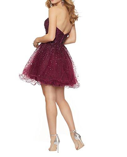 Festlichkleider Cocktailkleider Mini Abendkleider Kurzes Dunkel Tuell Charmant Festlichleider Fuchsia Partykleider Tanzenkleider Damen xqT0wBqRZ