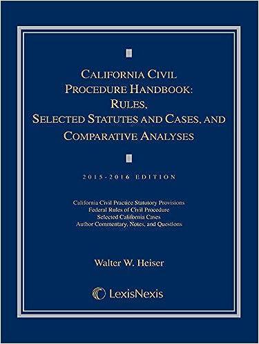 California Civil Procedure Handbook: Rules, Selected