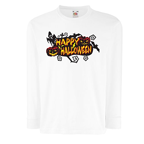 (T-Shirt for Kids Owls, Bats, Ghosts, Pumpkins - Halloween Outfit Full of Spookiness (7-8 Years White Multi)