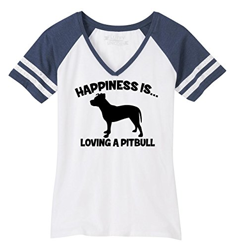 (Comical Shirt Ladies Game V-Neck Tee Happiness is Loving A Pitbull White/Heathered Navy 4XL)
