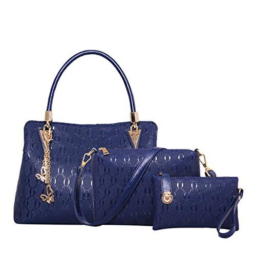 Kairuun Mujer Cuero PU Carteras de Mano Realce Bolsos al Hombro Moda Totalizador 3Pcs/Conjuntos Azul