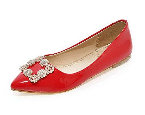 AllhqFashion Damen Rein Blend-Materialien Niedriger Absatz Ziehen auf Spitz Zehe Pumps Schuhe Rot
