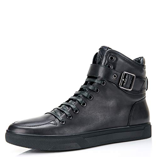 Jump Newyork Men's Sullivan Black Round Toe Metallic Reptile Stamped Leather Lace-Up Inside Zipper and Strap High-Top Sneaker 8 D US Men