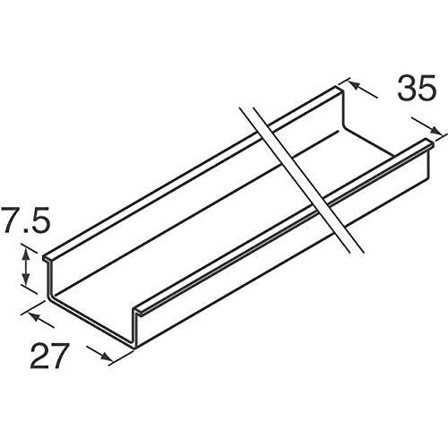 DIN RAIL 35MMX7.5MM UNSLOT 2M (Pack of 5) (TS3575SOL)