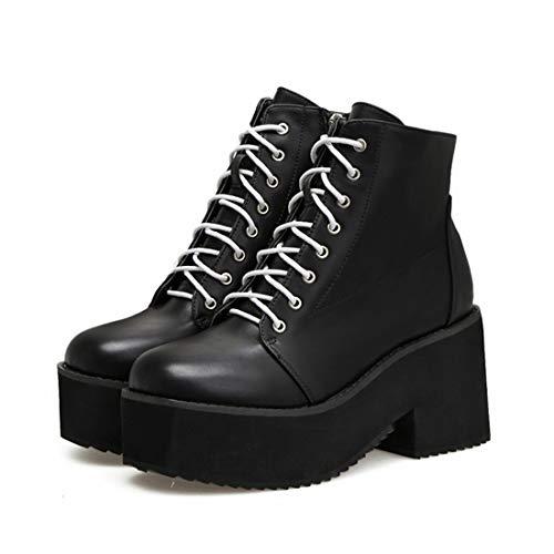 工業用マーク対立女性の靴秋レースアップオックスフォード分厚いヒールラウンドつま先黒い靴