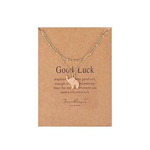 ForeveRing Z Message Card Good Luck Layer Elephant Necklace Animal Pendant Necklace Beads Chain Woman Jewellery