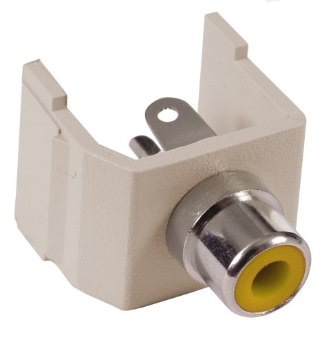 Hubbell Surface Raceway (Hubbell Wiring Systems SFRCYAL station Nickel Plated Brass Audio Video Keystone Connector with Yellow Insulator, RCA Solder Coupler Termination, Almond)