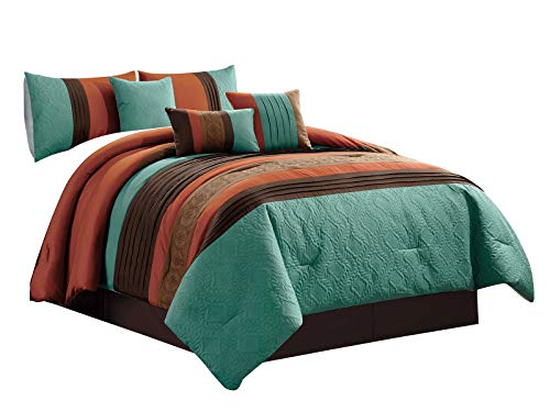 HGS 7-Pc Adrian Geometric Floral Olive Wreath Leaves Embossed Embroidery Pleated Comforter Set Teal Rust Brown Mocha Queen