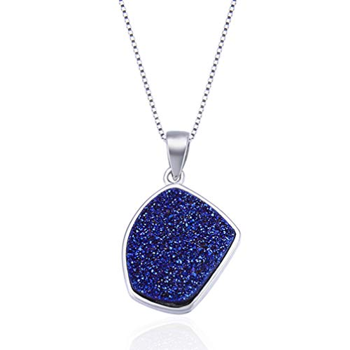 WANZIJING Sterling Silver Druzy Necklace, Delicate Blue Gemstone Pendant Choker Sparkle Crystal Necklace Jewelry Gift for Her,16''
