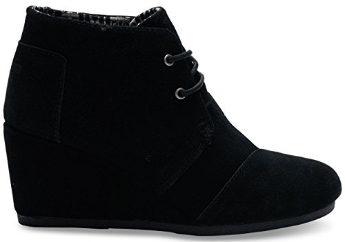 Toms Desert Wedge Black Suede Boot 10006248 Womens (Desert Wedges)