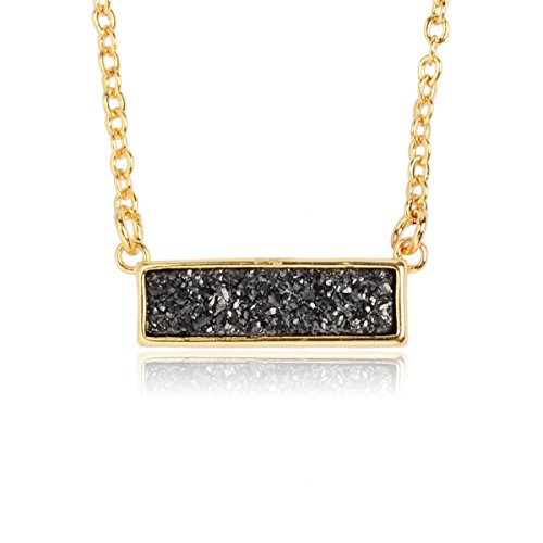 ZENGORI Handmade Gold Plated Natural Agate Titanium Druzy Rectangle Pendant Necklace Jewelry ZG041-1BK ()