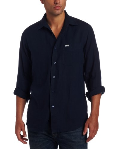 Faconnable Men's Riviera Solid Shirt, Navy, Large