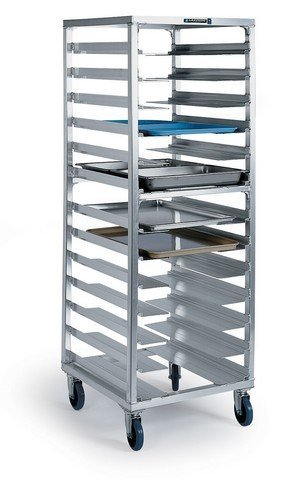 Lakeside Aluminum Universal Stepped Angle Ledge Roll In Cooler Rack - 13 Pairs of Ledge, 24 1/2 x 26 x 64 1/2 inch -- 1 each.