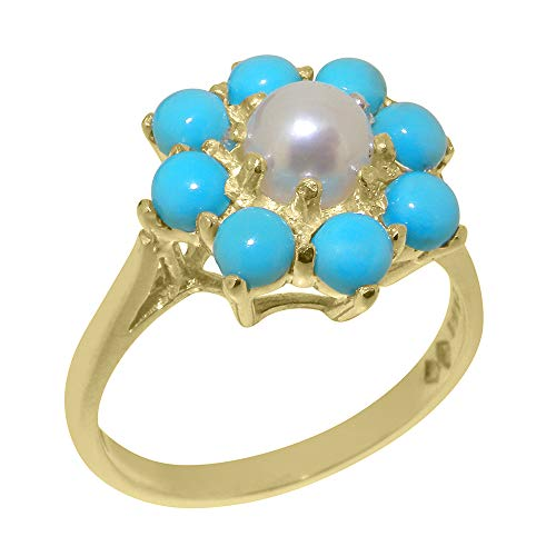 14k Yellow Gold Cultured Pearl & Turquoise ring Womens Statement Ring - Size 11.75 ()