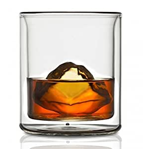 CoastLine Kitchen Double Wall Whiskey Glass Set | Scotch Cocktail Glasses Set of 2 - 6.7 Ounces Each | Manhattan Style with Reduced Condensation | Dishwasher Safe | Insulated Glassware Tumbler