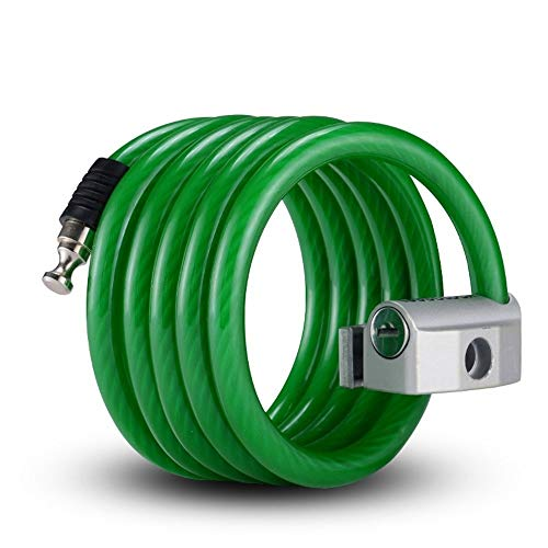 Kalmar Bicycle Lock, Electric Motorcycle Bicycle Anti-Theft Cable Chain Lock, 1.8m, Black, Green, Blue, White High Security Lock Best for Bicycle Outdoors (Color : Green, Size : 1.8m) ()