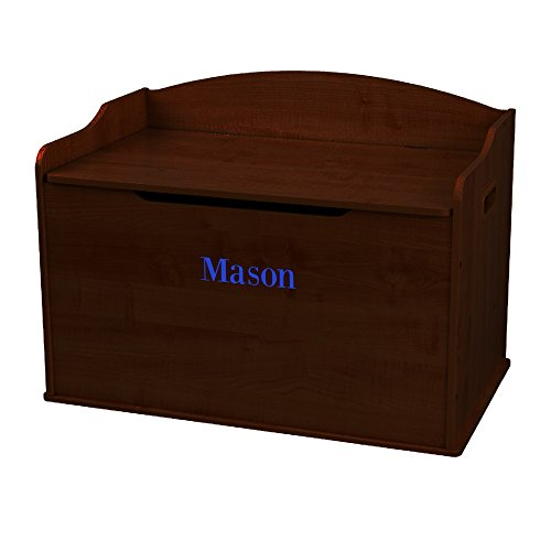 Personalized Boys with Name only Espresso Toy Box Bench -