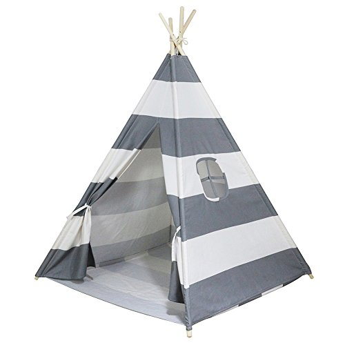 Dream House Preschool Hideaway and Hideout Wigwam Tent (Gray Stripes 4 Sides with Floor Mat)