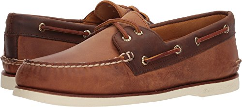 Sperry Mens Gold A/O 2-Eye Roustabout Slip-on Boat Shoe, Tan/Brown, 8.5 D(M) (Authentic Mens Leather Loafers Shoes)