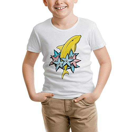 COOL FAMILY Banana Dolphin Color Stars Toddler Girls White Short Sleeve Funny T-Shirts