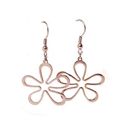 DUlijun Boucles d'oreilles de ventilateur Flower Earrings Mesdames plaqué or rose, Europe, titane hypoallergénique