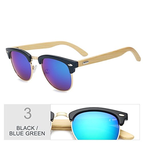 TIANLIANG04 Gafas Gafas Unisex De Plaza Black De Elegante Sol Negro Mujer Madera Tac Exterior Lentes Frío Hombre Gafas Azul Retro Gafas Blue 77Srw