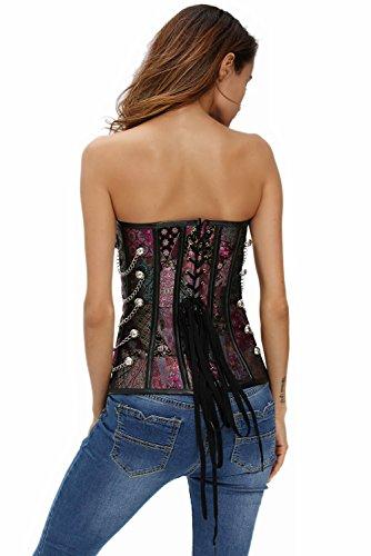 Saphira moda. Corsé multicolor decorado con cadenas. Para usar con jeans. Cadena incluida. Bustier. sin tirantes Multicolore