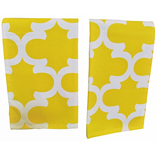 "Premium Quality Set Of 2 Kitchen Dish Towels by Crabtree Collection – 100% Cotton Absorbent Tea Towels – Classy Yellow Trellis Design – Ideal 18"" x 28"" Dimensions Decorator 18 Towel Bar"