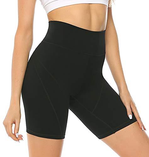 JOYSPELS Gym Shorts for Women High Waist Tummy Control 4 Way Stretch 5 Workout Shorts Side Pockets Black XL (Gym Female Shorts)