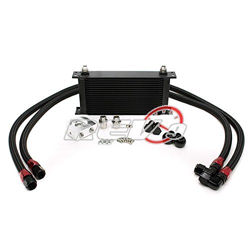 Universal Fit 19 Row Oil Cooler Kit with Stainless Steel Braided Teflon Hose (Bar & Plate Core)- An-10 Size 11