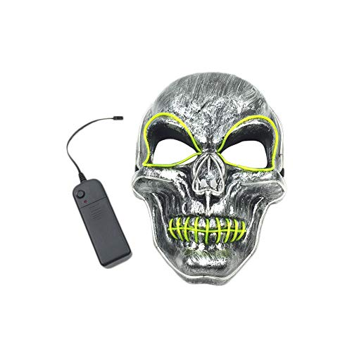 Leoie LED Light Up Skull Face Mask Flashing Luminous Halloween Costume Party Decor for $<!--$13.06-->