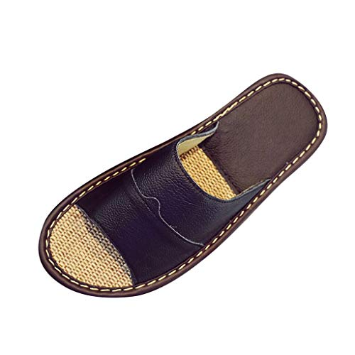 Yomiafy Summer Men Women Indoor Home Non-Slip Slippers Soft Leather Beach Casual - Vii Leather