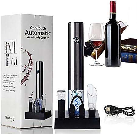 JeoPoom Sacacorchos Electrico, Profesional Automatico Abridor de Vino Electrico 4 en 1, Recargable Abridor Botellas de Vino con Cortacápsulas, Vertedor, Tapón de Vino de Vacío