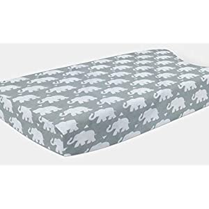 Pam Grace Creations Elephant Changing Pad Cover by Grey