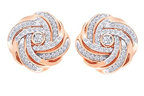 1/2 Carat Round White Natural Diamond Love Knot Stud Earrings 14K Rose Gold Over Sterling Silver (0.50 Cttw)
