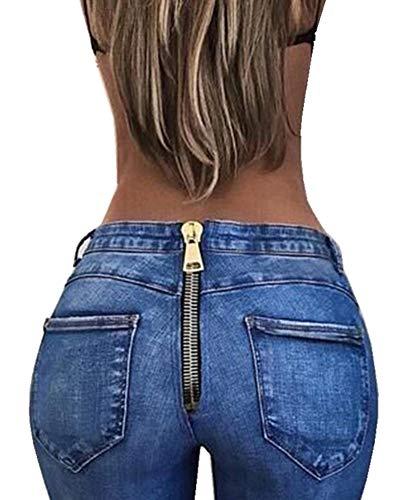 Blu Scuro Slim Vita Donna Stretch Moda Libero Tempo Fit Alta Skinny Jeans Indietro Zipper Denim Pantaloni FwgS6xZ